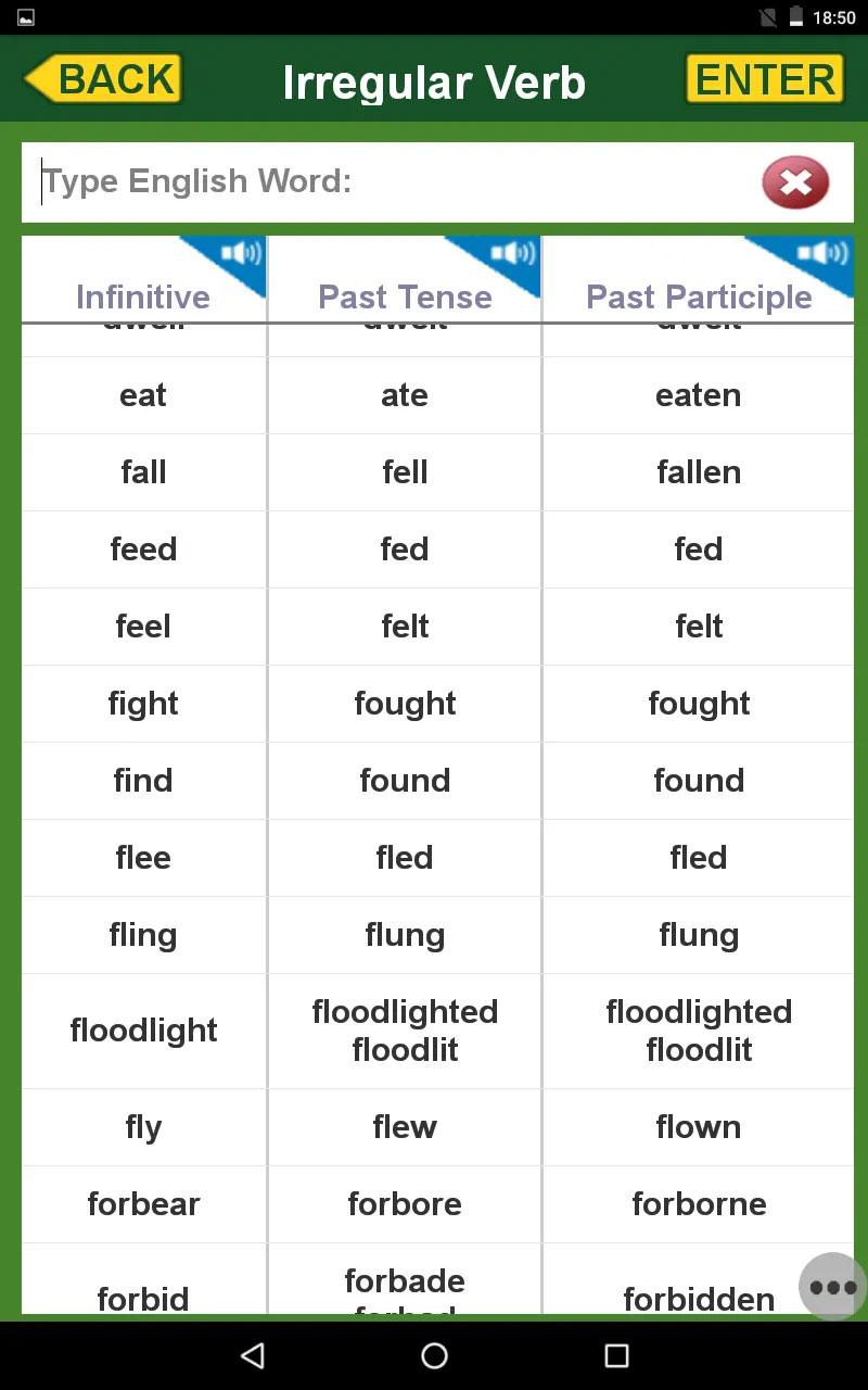 文法「不規則動詞」の画面