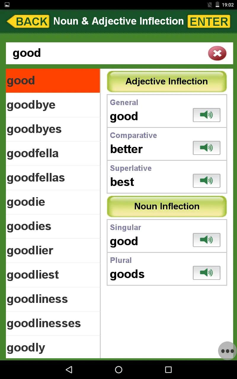 文法「名詞/形容詞語形変化 good」の画面