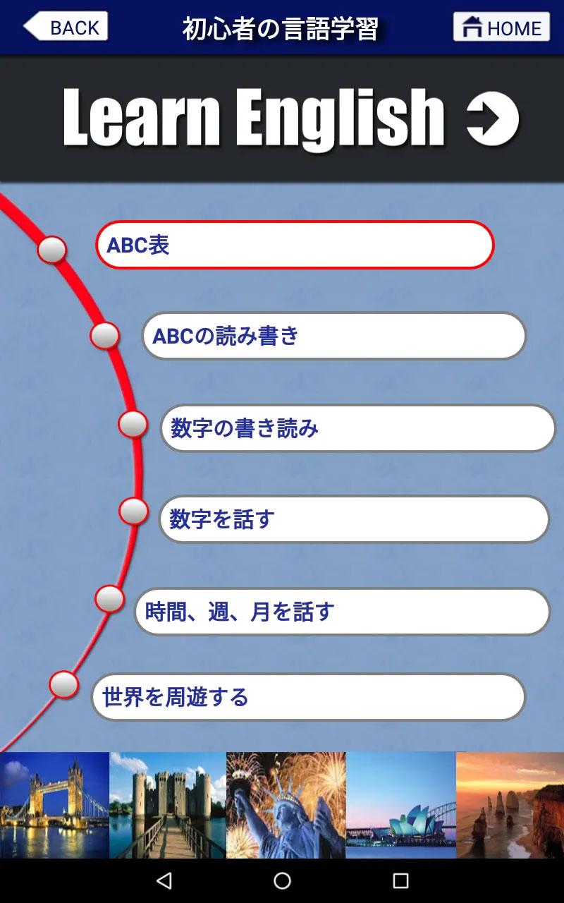 初心者の言語学習「目次」の画面