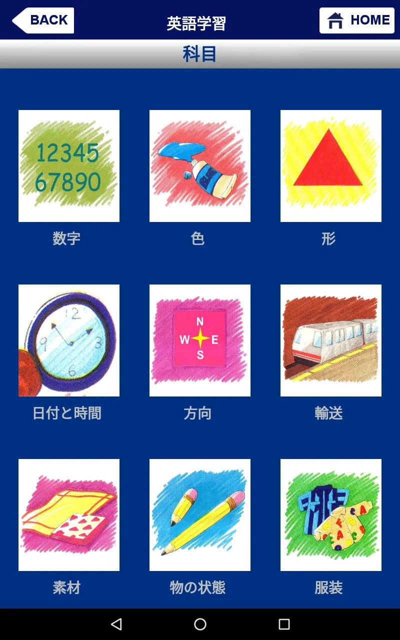 フラッシュカード「科目」の画面